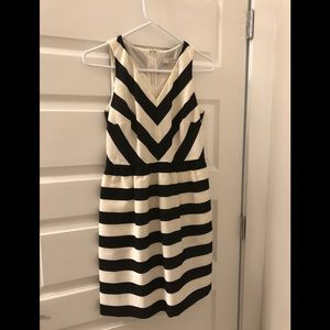 Loft Black and White Stripped Dress